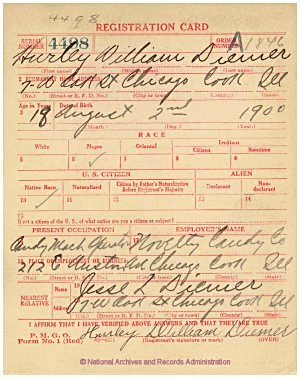 Click to enlarge front of WWI Draft Registration Card