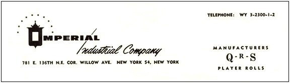Letterhead of the Imperial Industrial Company c. 1963 courtesy of Joyce Brite