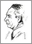 Jelly Roll Morton, drawing by Diz Disley c. 1954