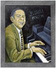 Acrylic painting of Jelly Roll Morton by Bob Hord- courtesy of Robert W. Hord and Buffalo Bros. Guitars