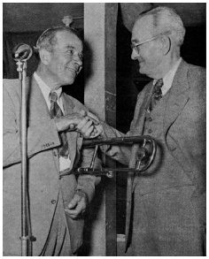 Brun Campbell greets Kid Ory